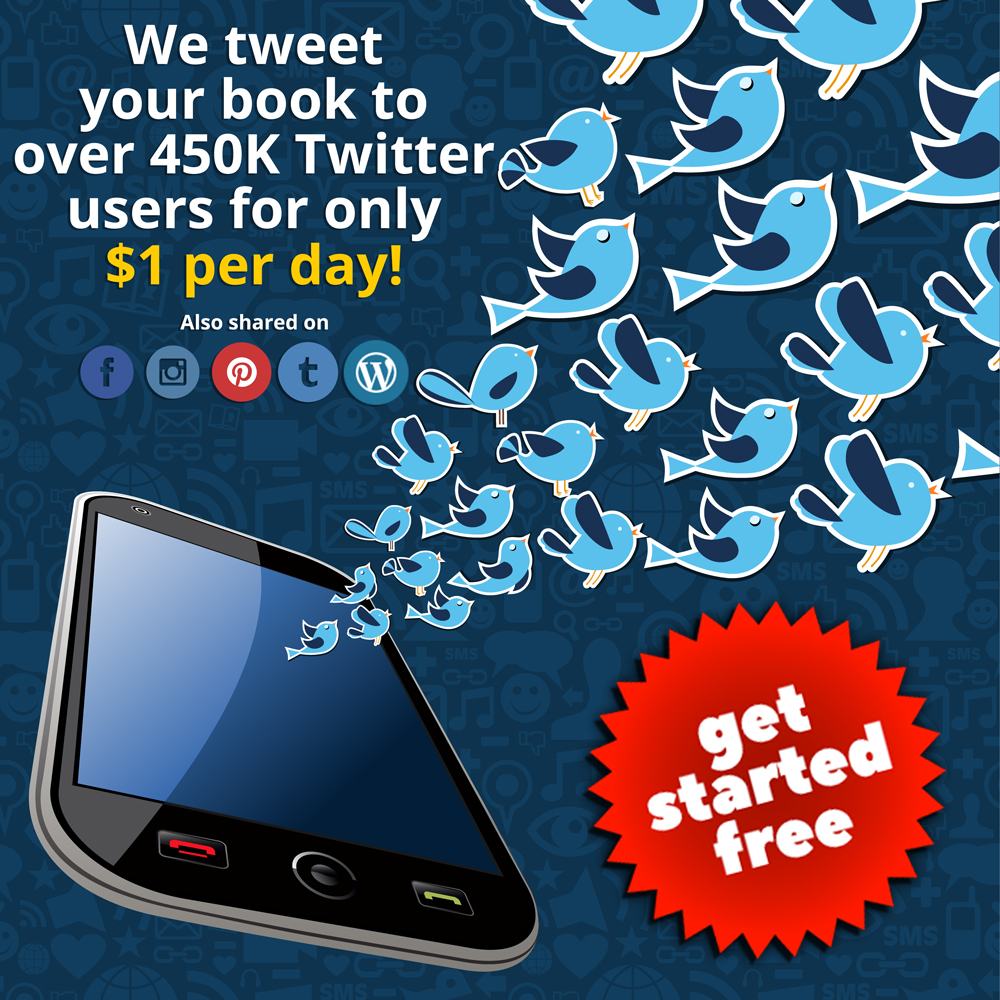 We tweet your book to over 450,000 Twitter users for only fifty cents per day!